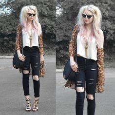 Choies Leopard Kimono, Choies Ripped Jeans, Choies Crocodile Sunglasses, Style Edit  Cara Sathel, Oasap Gold Leaf Heels