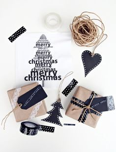 Combine Kraft paper, chalkboard tags, washi tape, and twine.