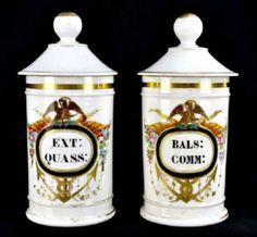 Found on EstateSales.NET: PAIR of 19th C. Paris Porcelain Apothecary Jars