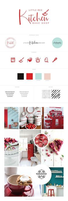 Little Red Kitchen Bake Shop Logo Design, Brand Identity, Handwritten Logo, Red + teal