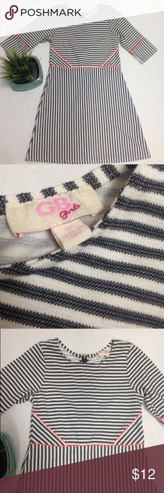 GB girls striped dress Great dress for the girl that wants to transition to a more grown up look its elegant and still adorable. Good condition. Photo measurements GB girls Dresses