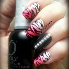 Zebra Nail Designs, Creative Nail Designs, Creative Nails, Zebra Nails, Tiger Design, Fun Nails, Manicure, Hair Makeup, Make Up