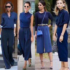 Blue Trousers Outfit, Culottes Outfit, Trouser Outfits, Slacks, Colorful Outfits, Casual Work Outfits, Professional Outfits, Blue Outfits, Fashion Colours
