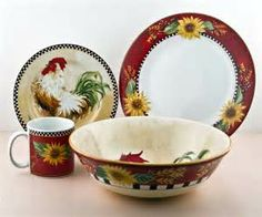 rooster and sunflower dinnerware sets - Yahoo Image Search Results & 16-Piece Sunrise Sunflower Dinnerware Set | French and Fancy ...