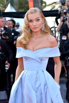 "Elsa Hosk dressed in Alberta Ferretti ice blue gown at the ""The Beguiled"" screening during the 70th annual Cannes Film Festival."