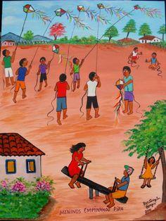 Arte Naif - ROSANGELA BORGES - MENINOS EMPINANDO PIPAS (©2010 artmajeur.com/ajursp) AJUR SP VENDEDOR E DIVULGADOR DA ARTE NAIF BRASILEIRA