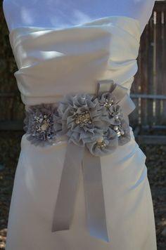 BEST SELLER, Bridal Sash, Bridal belt, Vintage, Flower sash, with Lots of bling, Style A036. $185.00, via Etsy.
