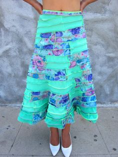 Hey, I found this really awesome Etsy listing at https://www.etsy.com/listing/190176990/upcycled-long-aqua-floral-a-line