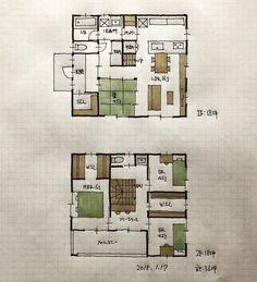 『36坪の間取り』 ・ リビングと和室が一体になれる間取り... Japanese Architecture, Japanese House, Floor Plans, Layout, Flooring, How To Plan, Home Decor, Interiors, Instagram