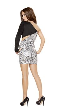 RM3003 One Sleeve Dress With Side Cut-outs