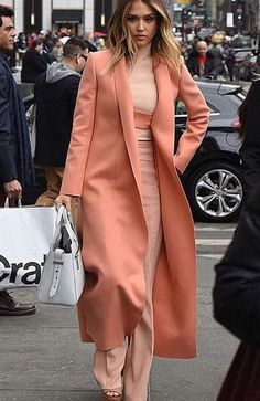 That coat and single color combination