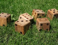 Yahtzee lawn dice made from 4X4s.  Caan also play Farkle.