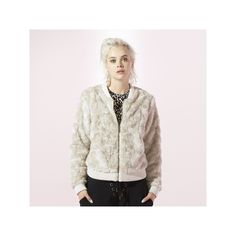 Women's Juicy Faux-Fur Bomber Jacket, Size: Large, Natural