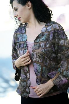 This one of a kind handmade Nuno felted very elegant jacket is very light and soft. The base is made with dark brown natural Margellan silk (its