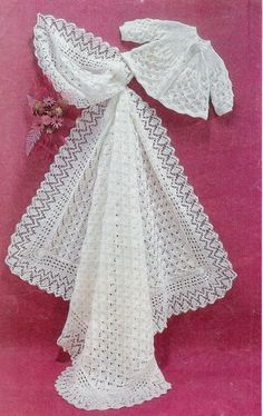 Baby Matinee Jacket and Christening Shawl,   instructions for  3ply and 4ply  yarn for sizes 17 - 19 ins - PDF of Vintage Knitting Pattern