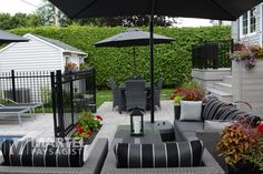 Bonheur de vivre | Martel Paysagiste Back Patio, Backyard Patio, Backyard Designs, Pool Fence, Deck Railings, Julie, Landscaping, Spa, Outdoors