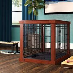 Archie & Oscar Ansel Deluxe Pet Crate in Brown Size: Furniture Styles, Find Furniture, Crate End Tables, Dog Crate Furniture, Pet Safe, Wood Slats, Pet Carriers, Wood Pieces, Pet Beds