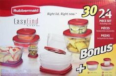 Rubbermaid Easy Find Lids 24 Piece Container Set with 6 Bonus Pieces by Rubbermaid. $39.99. Includes: Total of 30 Pieces.. Rubbermaid Easy Find Lids 24 Piece Container Set with 6 Bonus Pieces.. Rubbermaid Easy Find Lids 24 Piece Container Set with 6 Bonus Pieces. Includes a Total of 30 Pieces.