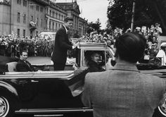 President John F. Kennedy in a motorcade during his trip to Germany, June 1963