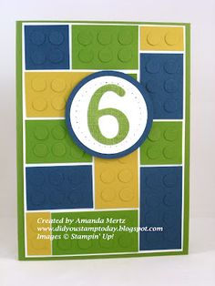 Lego Birthday Card by mandypandy - Cards and Paper Crafts at Splitcoaststampers Lego Birthday Cards, Birthday Cards For Boys, Bday Cards, Handmade Birthday Cards, Birthday Numbers, Birthday Crafts, Birthday Ideas, Scrapbooking, Scrapbook Cards