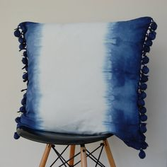 Large Indigo Blue dip dyed watercolour square cushion cover pillow with pompoms