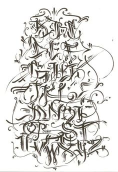 Graffiti Walls Alphabet Calligraphy In Several Design Sketches Letters A
