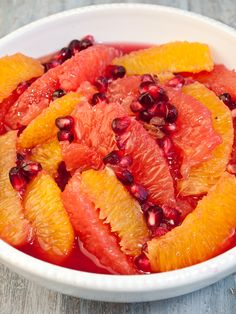 Winter Citrus and Pomegranate Fruit Salad.  Since we've been eating tons of junk, this was our dinner tonight.  Great combination.  I varied and instead of oranges, used what I had - a honey orange and a tangerine, then the two grapefruit and pomegranate.  Ron doesn't usually like grapefruit but he loved this!
