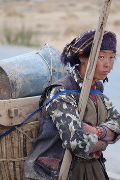Tibetan woman near Gyantse, Tibet #Tibetan # Tibetan art