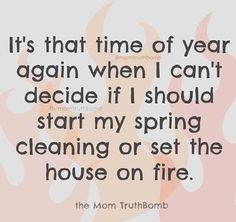 My Spring cleaning is kind of like that movie The Purge, but instead of going ballistic on my fellow man one day a year, I go ballistic on my kids' crap. House Cleaning Humor, Cleaning Quotes, Burn It Down, Funny Quotes, Funny Memes, Funny As Hell, Funny Shit, Hilarious, I Cant Even