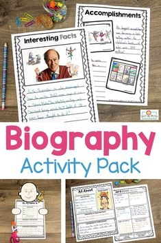 Use this biography pack to teach note taking, research, writing, & more. Your 2nd, 3rd, 4th, and 5th grad eustdnets will be engaged in learning about others' lives. You get posters, organization pages, hands-on interactive activities, easily differentiated pages, and more. This download is a great way to cover a variety of content areas for one great culminating project. Grab it today to use with your second, third, fourth, or fifth graders. #Biography #Reading #Writing Research Poster, Engage In Learning, Biography Books, 5th Grade Classroom, Interactive Activities, Third, Homeschool, Hands, Posters