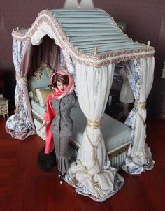 OOAK Miniature Dollhouse Canopy Bed for Silkstone by beyourdolls, $399.00