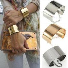 EBAY - Bracelet large jonc metal doré manchette mode luxe avec chenette