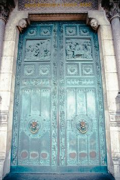 Paris Photography - Montmartre Patina - Fine art travel photography - French door art - Vintage beauty - Tiffany blue green