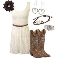 If you have to wear a dress make sure it is one your boots go well with ;) Country Angel - Polyvore