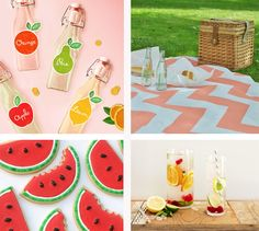fun summer ideas! Original photos from: 1: Adorable Festive Fruit Labels by Amy Moss @ Eat Drink Chic 2: DIY Zig Zag Picnic Blanket by Kathleen -- get well soon Kathleen! 3: Cute Watermelon Cookies via HHH  4: Pretty Summery Drinks by Angela