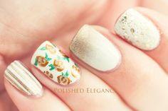 Gold rose nail art vintage rose nail art gold white nail art nail polish manicure gold glitter striping tape manicure nail art