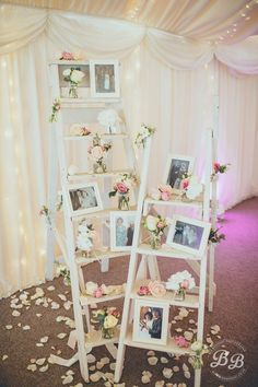 Use a ladder to display important wedding photos of your immediate family / http://www.deerpearlflowers.com/wedding-photo-display-ideas/