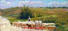 Counting Sheep by Nancie King Mertz Pastel ~ 22 x 10.25