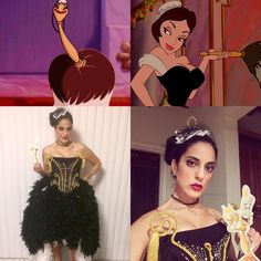 "Y.M. as Babette / the feather duster from Beauty and the Beast / Halloween 2016 #MNSSHP #MNSSHP2016 #mickeysnotsoscaryhalloweenparty #DisneyHalloween #DisneyCosplay   Costume: @bowtiesandfireflies  Facinator: Mella C. (@futurebelle26)  Wood print leggings: wwww.amazon.com  Makeup: Me (Mario pro palette by Anastasia, Chanel, & MAC Selena ""Como La Flor"" lipstick)"