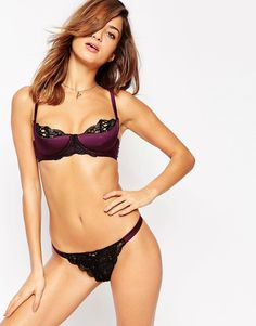 6ed696529f9ab Image 4 of ASOS Leanna Lace Up Satin Half Cup Moulded Underwire Bra Satin