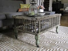 Vintage Wooden Chicken Coop Coffee Table With Salvaged Legs