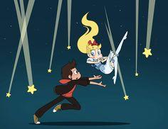 Marco Diaz and Star Butterfly - Starco falling star 😘 Starco, Gajevy, Disney Xd, Disney And Dreamworks, Atack Ao Titan, Mini Comic, Falling Stars, Star Wars, Animation