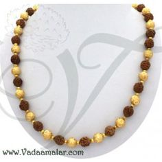 Rudraksha with gold beads design chain mala trendy with ethanic sarees and salwars