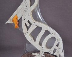 Buffalo Scroll Saw   ... Nautical Bird Wooden Animal Puzzle Toy Hand Cut with Scroll Saw