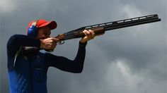 Peter Robert Russel Wilson of Great Britain competes in the men's Double Trap Shooting