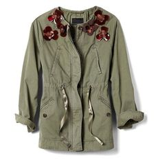 Embellished Military Jacket | Banana Republic ❤ liked on Polyvore featuring outerwear, jackets, embellished jackets, green jacket, military jacket, embellished military jacket and banana republic jacket