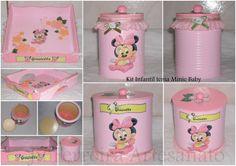 Kit infantil menina tema Minie Baby: bandeja MDF, reutilização de lata de leite e latinha com tampa em MDF; pintada e forrada por dentro