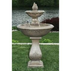 Two Tier Oval Jubilee Fountain Cast Stone Water Feature Stone Garden Fountains, Small Fountains, Garden Stones, Concrete Fountains, Outdoor Fountains, Stone Water Features, Indoor Water Features, Decorative Pebbles, Cast Stone