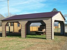 offers free installation and delivery for all metal buildings. Including enclosed car garages, metal barns, RV covers, equipment storage, and more. 2 Car Carport, Double Carport, Metal Buildings For Sale, Steel Buildings, Carports For Sale, Steel Carports, Steel Garage, Metal Roof, Pavilion