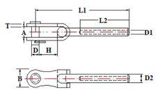 Horquilla Toggle – Articulada / Swage Toggle terminal | Cables Estructurales - Cadenas y Trincajes